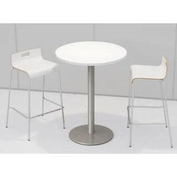 KFI Round Designer White Bistro Table Set, 2 Jive Series Stools (White)