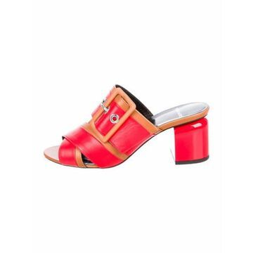 Leather Printed Slides Red