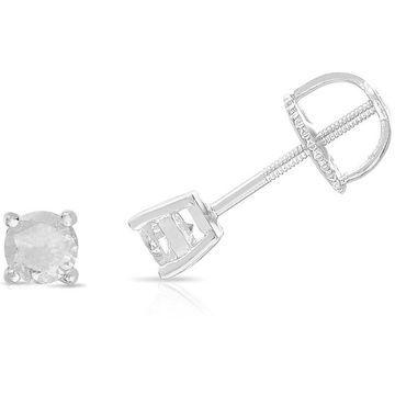 Finesque Sterling Silver Diamond Single Stud Earring