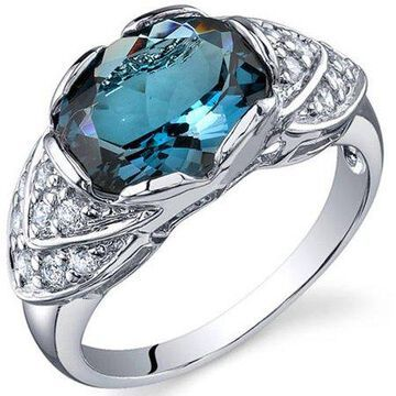 Oravo 3.00 Carat T.G.W. London Blue Topaz Rhodium-Plated Sterling Silver Engagement Ring
