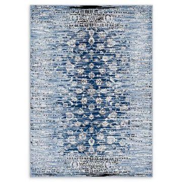 Modway Distressed Floral Lattice 8' x 10' Area Rug in Blue