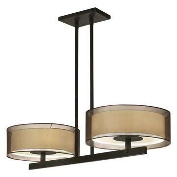 Sonneman Puri 2-Light Bar Pendant in Black Brass