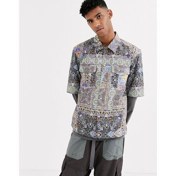 Reclaimed Vintage tiled paisley print shirt-Blue