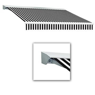 Awntech Destin 192-in Wide x 120-in Projection Black/White Striped Manual Retractable Patio Awning Stainless Steel | DM16-L-KW