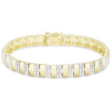 Finesque Sterling Silver Diamond Accent Stripe Bracelet