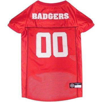 Pets First College Wisconsin Badgers Collegiate Dog Jersey, Available in Various Sizes