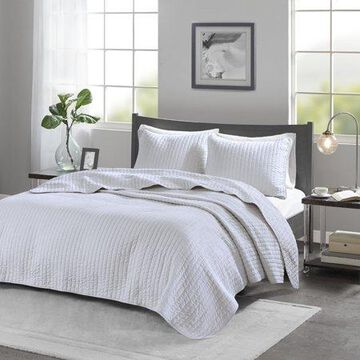 Home Essence Mitchell Reversible Coverlet Set, White, Twin/Twin XL