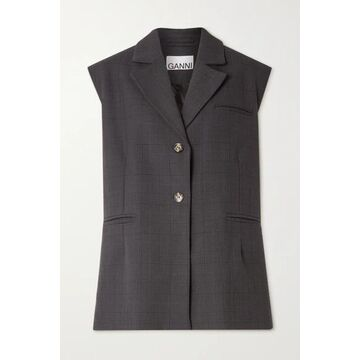 GANNI - Oversized Prince Of Wales Checked Woven Vest - Charcoal