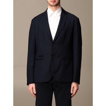 Armani Exchange Single-breasted Jacket In Textured Fabric