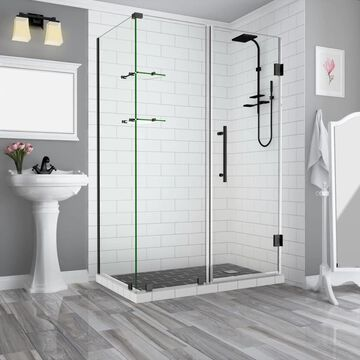 Aston Bromley GS 72-in H x 72-1/4-in to 73-1/4-in W Frameless Hinged Shower Door (Clear Glass)   SEN962EZORB73353410