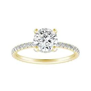 Auriya 14k Gold Round Moissanite Engagement Ring 1 1/8ctw