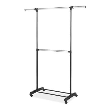 Whitmor Adjustable 2-rod Garment Rack, Black