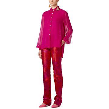 Carolina Herrera Dropped-Shoulder Button Down Silk Shirt
