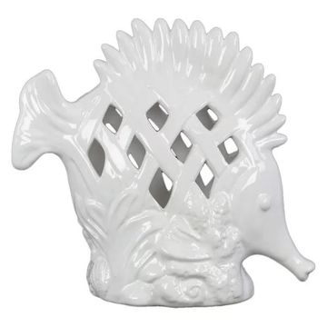 Ceramic Fish Figurine With Erect Dorsal Fins And Perforated