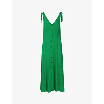Whistles Womens Green Hanna Tie-shoulder Viscose Midi Dress 16