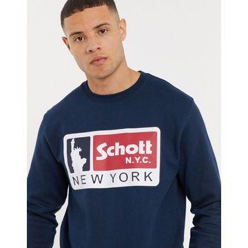 Schott logo sweat in navy