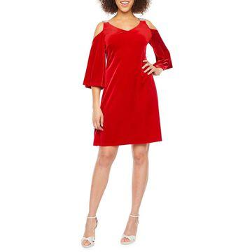 MSK 3/4 Sleeve Cold Shoulder Embellished Velvet Shift Dress