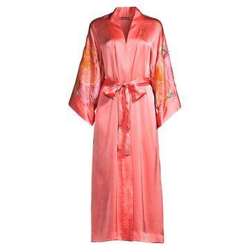Natori Peony Blossoms Embroidered Robe