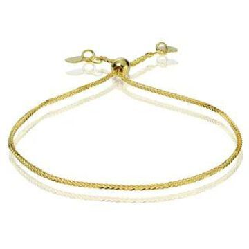 Mondevio 14k White Gold 0.8mm Spiga Wheat Adjustable Italian Chain Bracelet, 7-9 Inches (Strand/Stackable - Yellow - 9 Inch/7 Inch/7.25 Inch/8