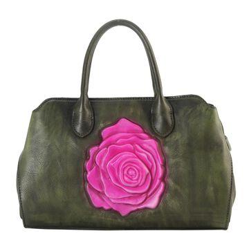 Diophy Genuine Leather Front Solid Rose Large Top Handle Handbag