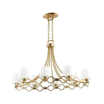 Quorum Durand 8-Light 23 inch Transitional Chandelier in Aged Brass