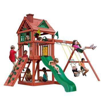 Gorilla Playsets Nantucket Wooden Swing Set with Rock Climbing Wall