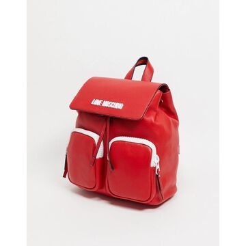 Love Moschino logo backpack in red