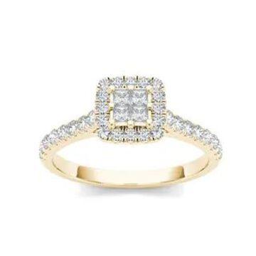 De Couer IGI Certified 10k Gold 1/2ct TDW Diamond Multi Stone Engagement Ring (6 - Yellow)