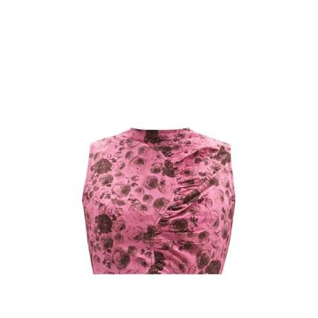 Ganni - Tie-back Rose-print Organic-cotton Cropped Top - Womens - Pink