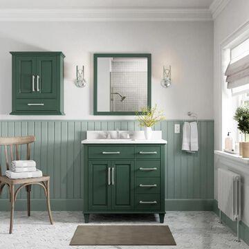allen + roth Brookview 36-in Pine Undermount Single Sink Bathroom Vanity with Carrara Engineered Marble Top in Green   1789VA-36-322-925-UM