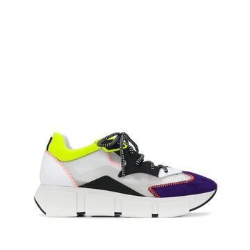 colour block low-top sneakers