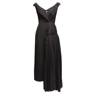 Marni - Pleated Off-shoulder Cotton-crepe Dress - Womens - Black