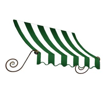 Awntech Charleston 40.5-in Wide x 24-in Projection Forest/White Striped Fixed Window/Door Awning in Green | CH22-L-3FW