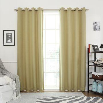 Aurora Home Linen Look Room Darkening Grommet Curtain Pair