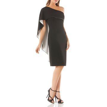 Carmen Marc Valvo Womens Overlay One-Shoulder Cocktail Dress