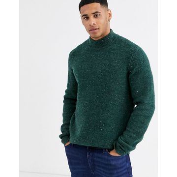 Only & Sons high neck fleck ribbed knitted sweater in green