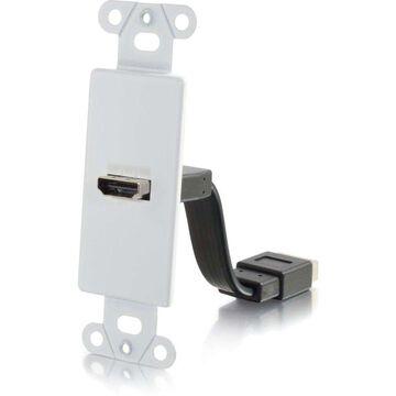 C2G HDMI Pass Through Decorative Wall Plate - White - White - Aluminum - 1 x HDMI Port(s)