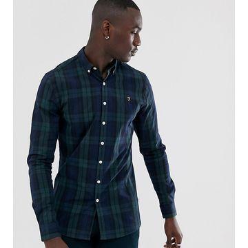 Farah Brewer slim fit plaid shirt in green