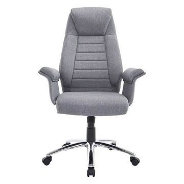 HomCom High Back Fabric Executive Office Chair, Light Gray
