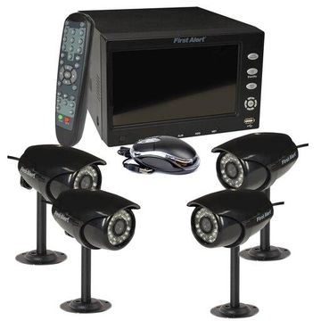 First Alert 4 Ch DVR Security System w/ 7'' Monitor and 4 Surveillance Cameras