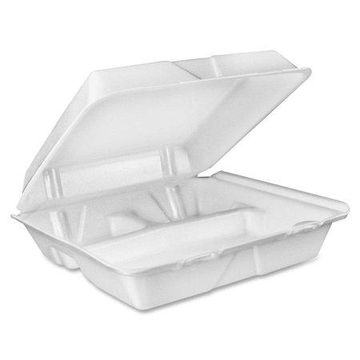 Dart 3-comprtmt Large Foam Closing Carryout Trays