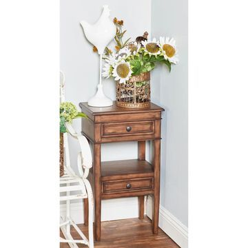 Traditional 29 Inch Brown Wooden Side Table with Drawers by Studio 350
