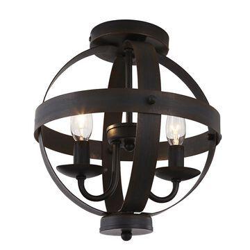allen + roth Crossburg 10-in W Oil-Rubbed Bronze Metal Semi-Flush Mount Light