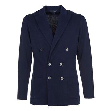 Lardini Blue Double-breasted Cotton Jacket
