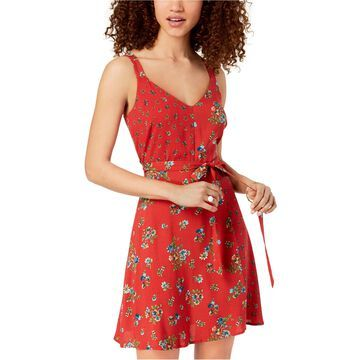 Be Bop Womens Floral Print Fit & Flare Dress