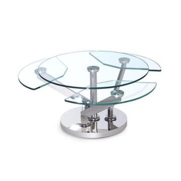 Chintaly Contemporary Cocktail Table with Motion Shelves