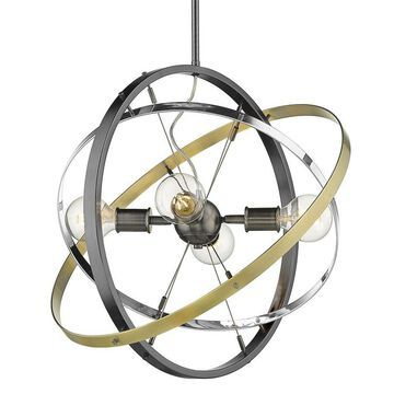 Golden Lighting Atom 4-Light Brushed Steel Modern/Contemporary Chandelier