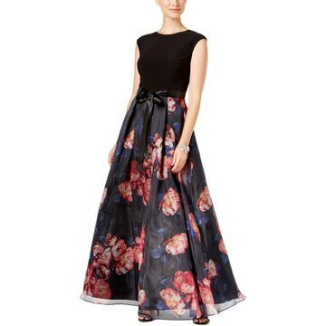 SL Fashions Womens Floral Print Layered Evening Dress