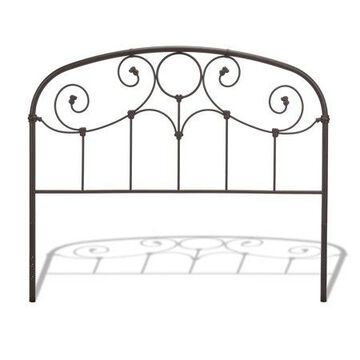 Grafton Metal Headboard Panel with Prominent Scrollwork and Decorative Castings, Rusty Gold Finish, California King