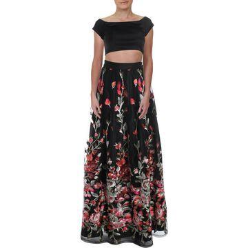 Trixxi Womens Juniors Off-The-Shoulder Floral Evening Dress